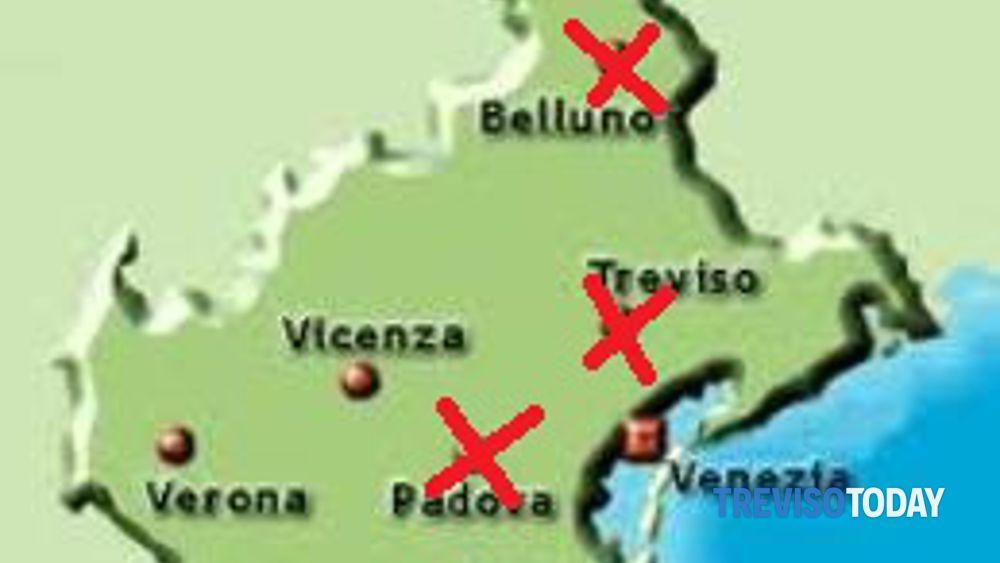 Cartina Veneto Treviso.Province Treviso Accorpata A Belluno